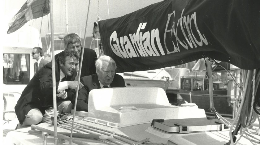 Roger Justice, David Fairhall and Ted Heath at the launch party - the photo that never appeared