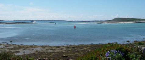 Tresco Flats near low tide, looking towards St Mary's