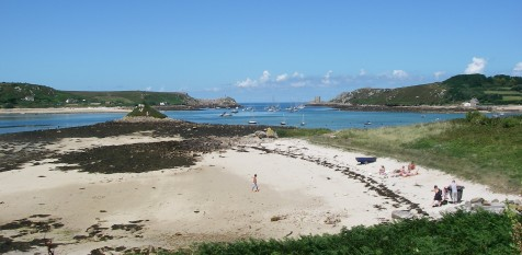 Tresco flats near low tide, looking towards our mooring