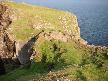 The narrow neck of land between high cliffs which led to the final refuge of the fort and then on to...