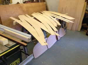 All the planks and the bow and stern transoms cut out.
