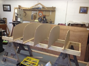 The moulds in place on the frame