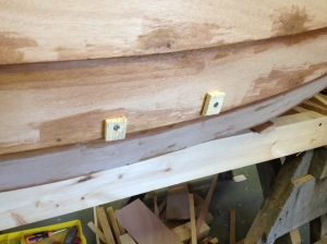 Screws to hold the cleats inside while they were being glued, using temporary wooden washers to protect the planks.