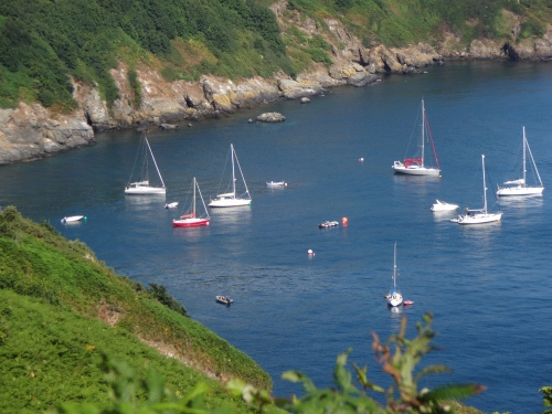 Moored at Sark (Spring Fever to the right of red boat).
