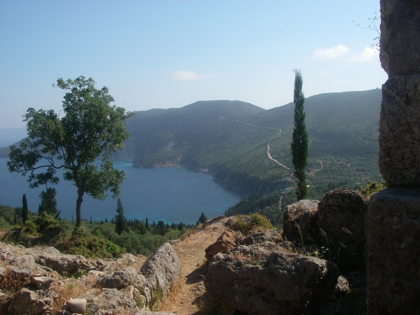 Looking down to the sea from one of the archaeological excavations on Ithaca