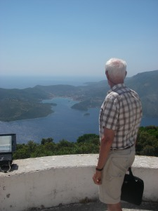 Martin looking towards Vathi, the main town of Ithaca, at the head of the deep bay in the distance.