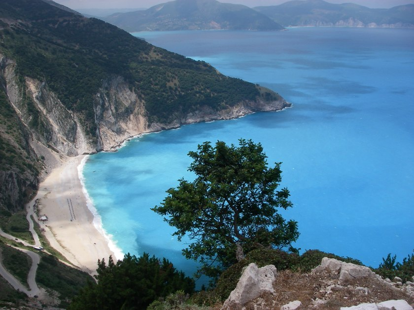 A bay on Cephalonia's west coast, with Paliki, Bittlestone's Ithaca, in the far distance.