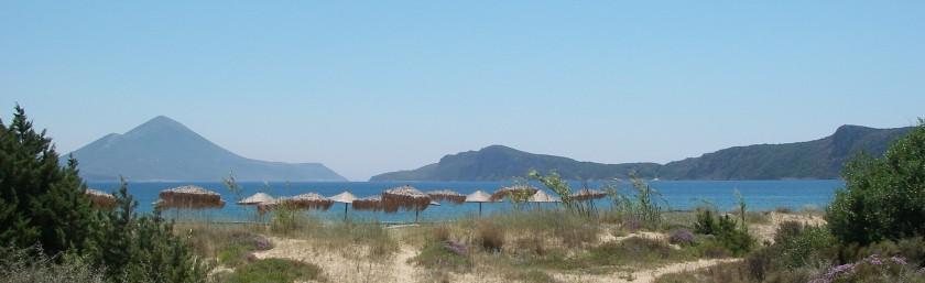 Low dunes behind a long sandy beach, north end of Navarino Bay.