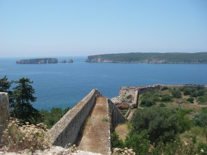 Site of the naval battle at the entrance to Navarino Bay, seen from the Otttoman fort at Pylos.