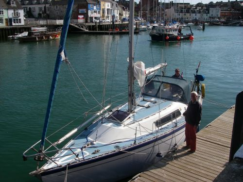Pepper alongside the pontoon in Weymouth Harbour