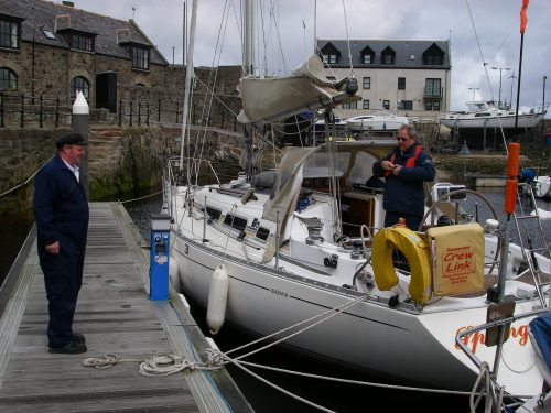 Alongside at Banff, Tony talking to the Harbourmaster.