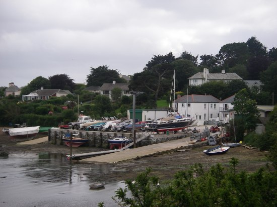 Freshwater Boatyard, St Mawes, where we kept Kehaar for four seasons, wintered on the beach using a pair of legs.