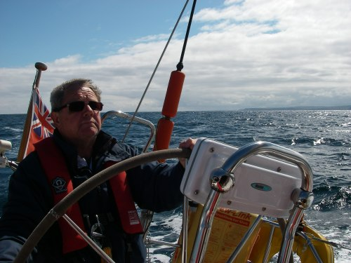 Into the Moray Firth, Rattray Head behind, Tony at the wheel.