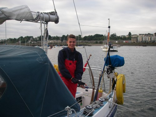 Jamie, Granton Harbour with the tide in