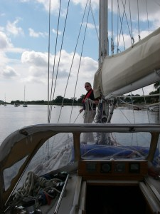 Tony on deck at Waldringfield as we leave the Deben for Lowestoft