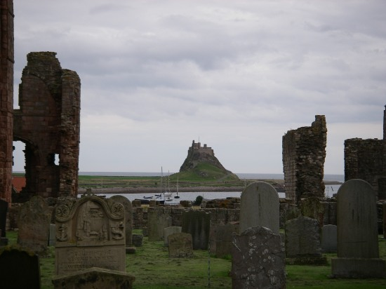 Lindisfarne Castle from the ruins of the abbey.