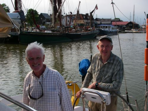 Martin and Peter at Maldon, with a few inches below the keel.