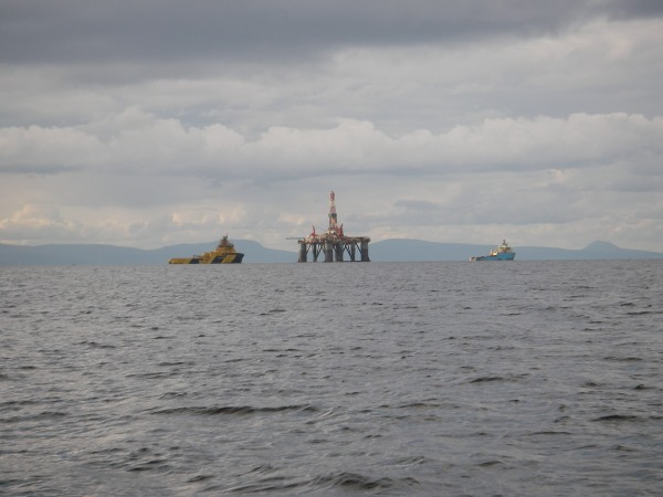 Oil rig under tow, Moray Firth